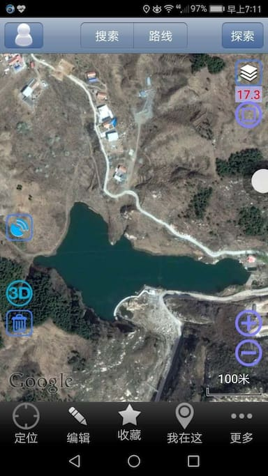 my lake, the blue triangle guidance is shanwu, the third house by the lake.