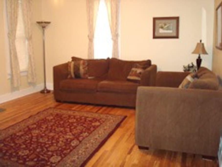 The living room is comfortable for family and has a queen size sofa sleeper.