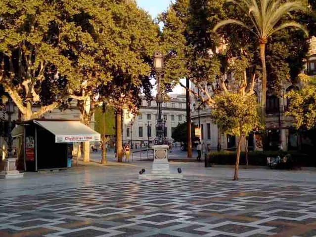SUNNY DOUBLE ROOM LOW/COST IN TOWN SEVILLA BALCONY