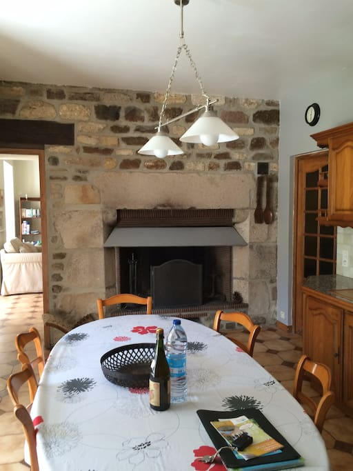 Aragon kitchen with enormous fireplace.