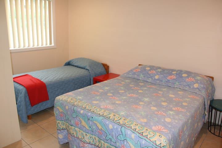 Bedroom 2 has a double and single bed.