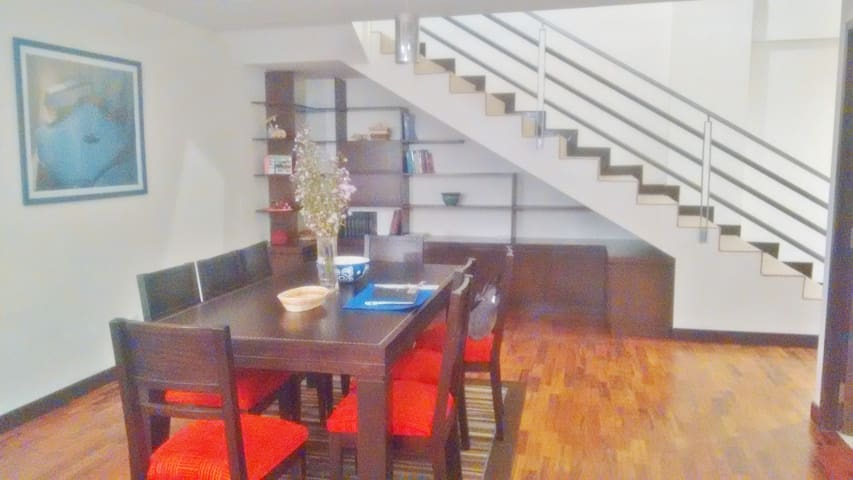 Duplex apartment - 8 person dining room table