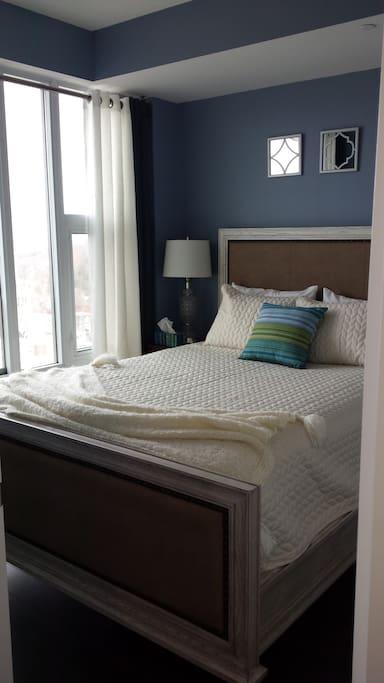 Bedroom also overlooks Kitchener. Full closet space.