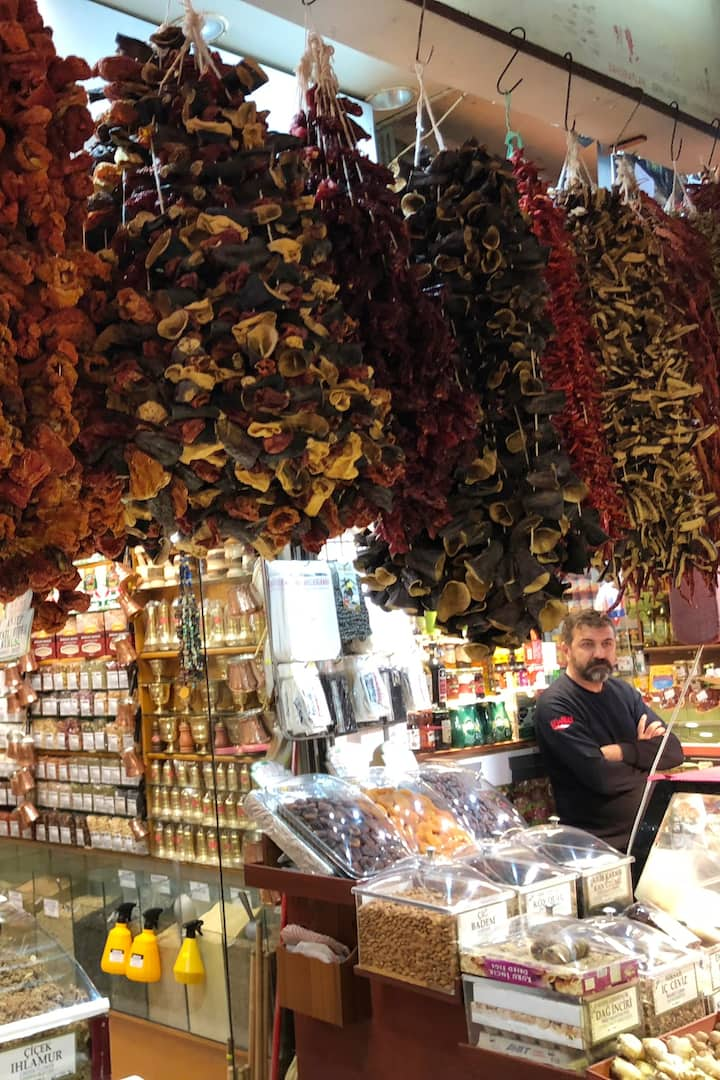 Food market. Sun dried veggies