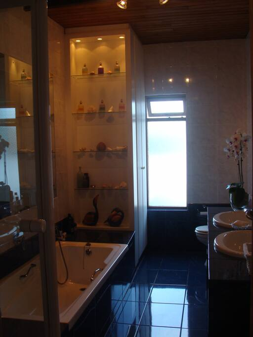 Your private bathroom which is not en suite.  There is a good strong shower with plenty of hot water and a bath with hand shower.