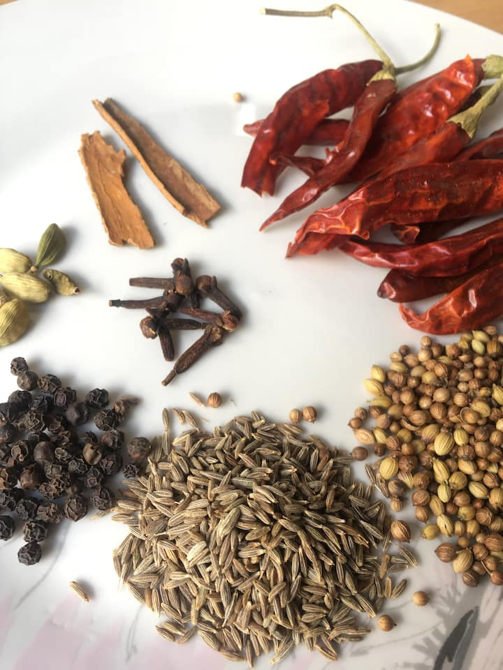 An array of spices to be blended