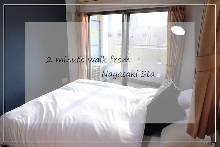 Central 1DK Apt./2min walk-Nagasaki Sta.(602)