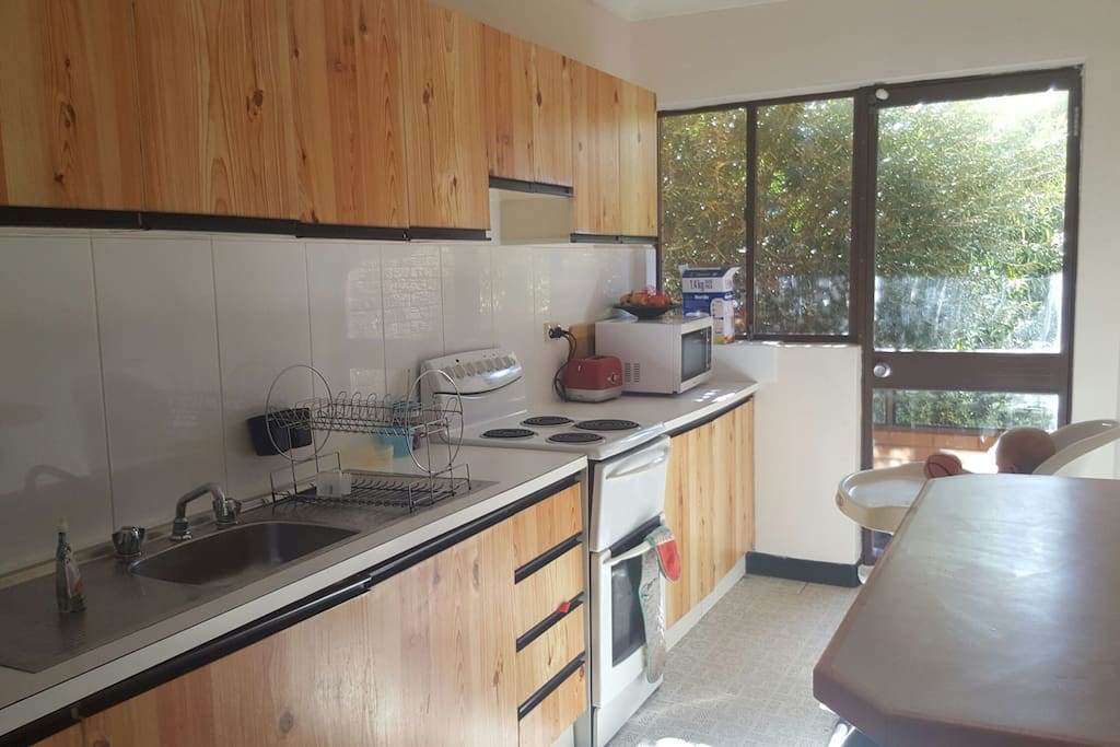 Fully equipped kitchen with large fridge and mirowave