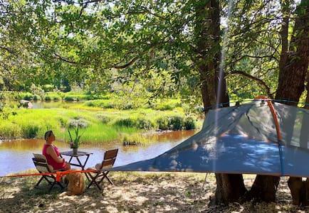 Yö leijuvassa teltassa. Tentsile Experience, Sauna