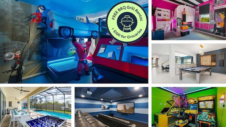 Brand New Built in 2019! Private Pool, Themed Rooms, Movie Theater + Arcade Games