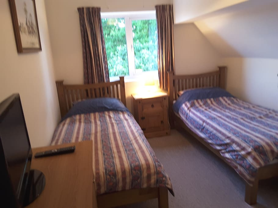 Comfortable twin bedded room with TV and Wifi