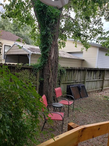 Nice shades, roomy private backyard with detached laundry, patio sitting and gas grill