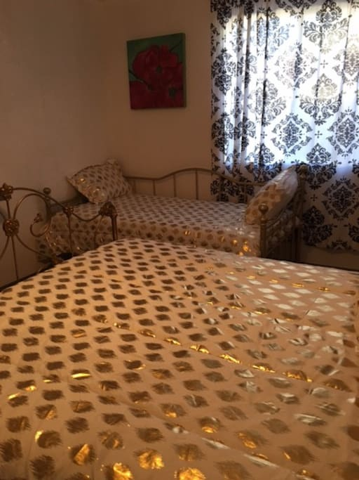 Golden Large Private Bedroom with Full and Twin Size beds and Full Size Bathroom