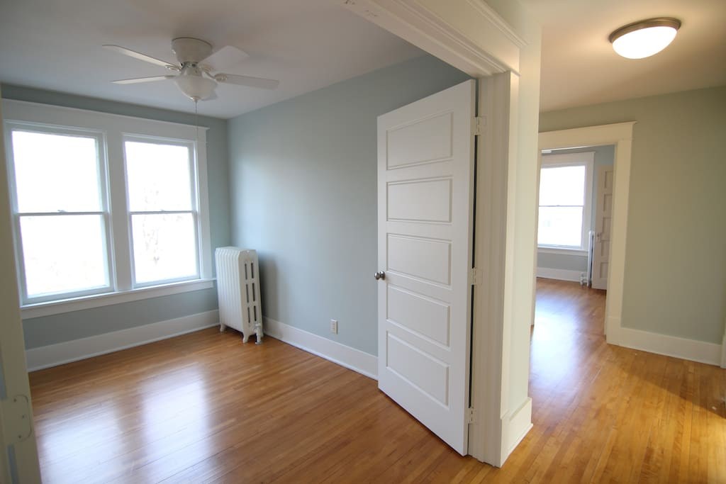 An extra guest bedroom. We tend to keep the French doors open to bring the beautiful afternoon light into the hallway and other bedrooms.