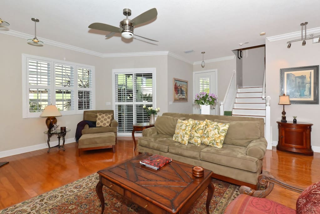 Beautiful Shutters Throughout and Ceiling Fans