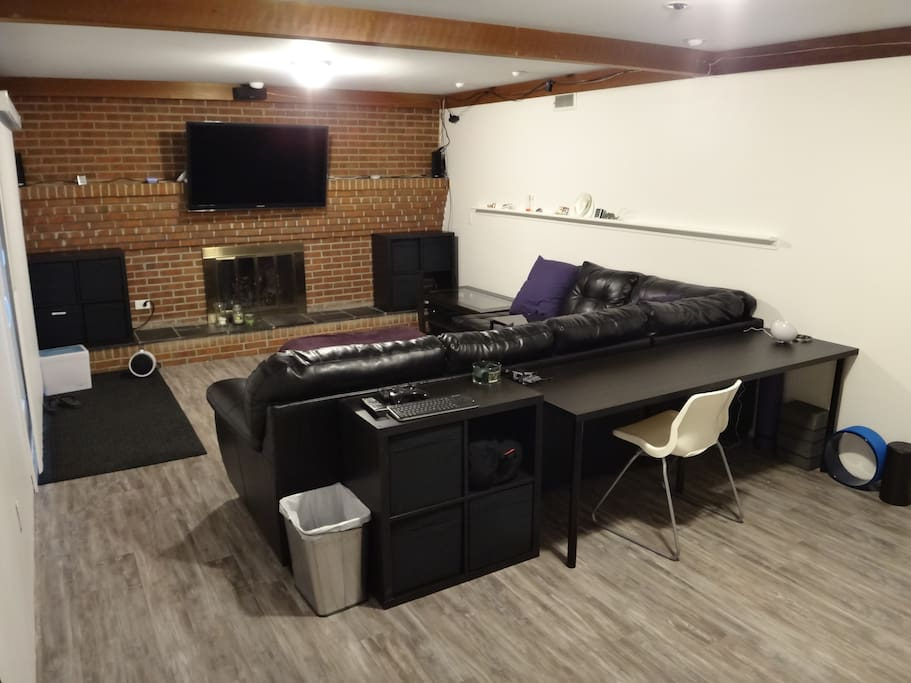 the theater has a spacious sectional couch and a TV connected to a computer.  you are welcome to share this space with my roommates and me.