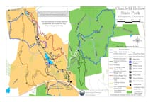 This is the map of Chatfield Hollow which is part of the BLUE trail of the scout camp.  Just out our back door.