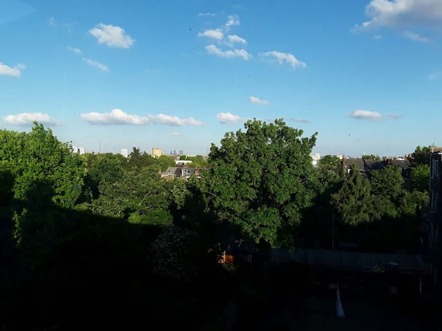 View of London in the summer from our apartment