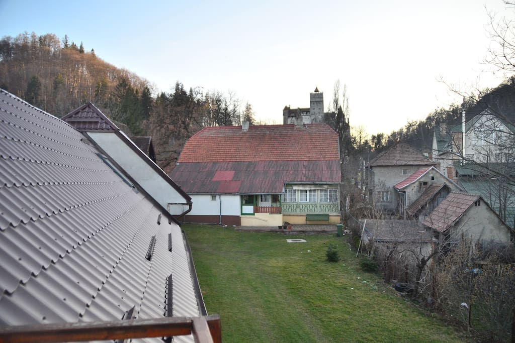 view from the terrace with the Bran Castle