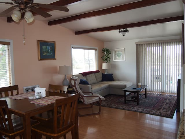Spacious guest house with private yard and views
