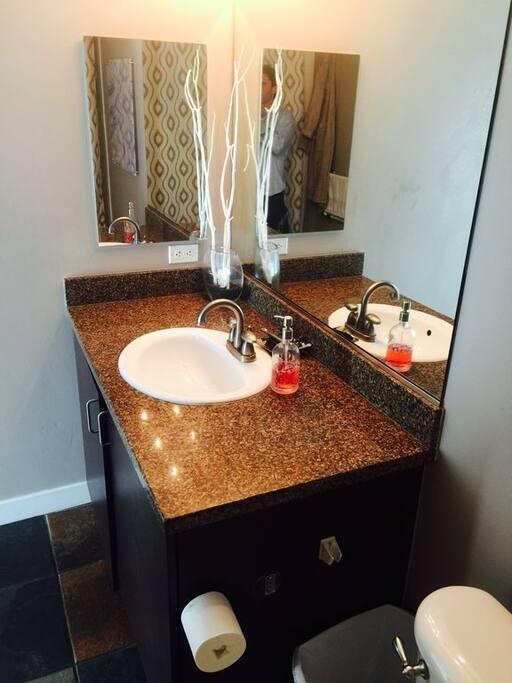 Both bathroom have granite countertops