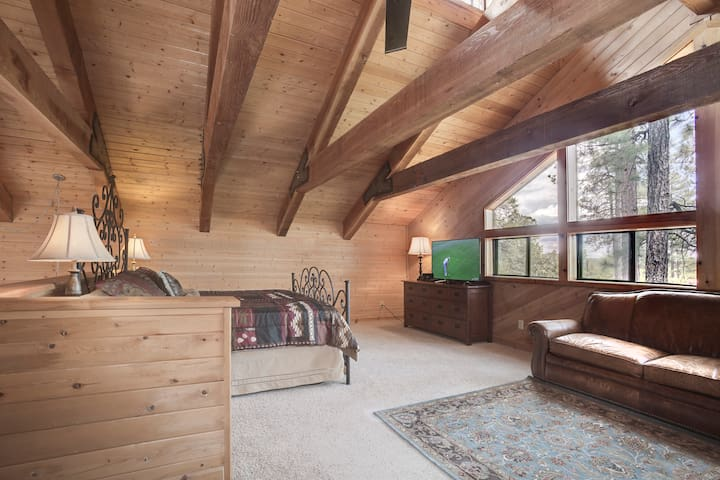 Loft/Masters Retreat with King size bed and a Full Size sofa bed.  Air Mattresses under the bed