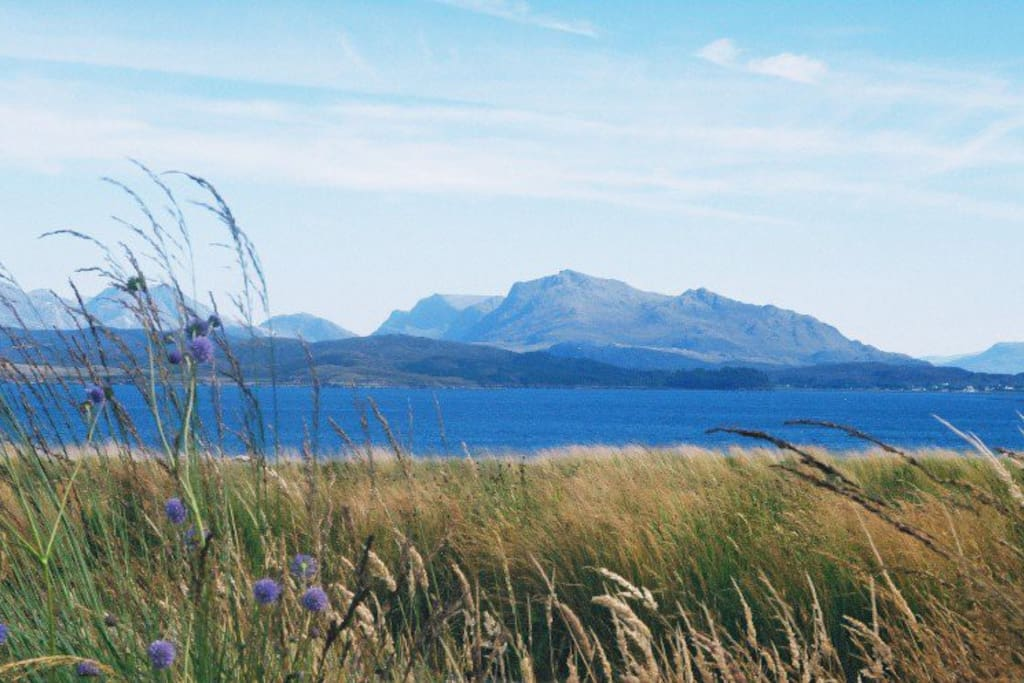 View from the cottage over Loch Ewe to the mountains beyond