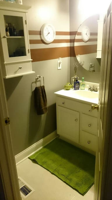Separate bathroom, but not attached to bedroom.