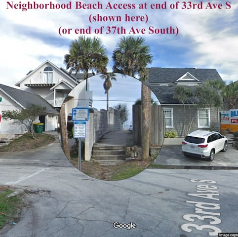 Locals' neighborhood beach access walkway at 33rd Ave S.