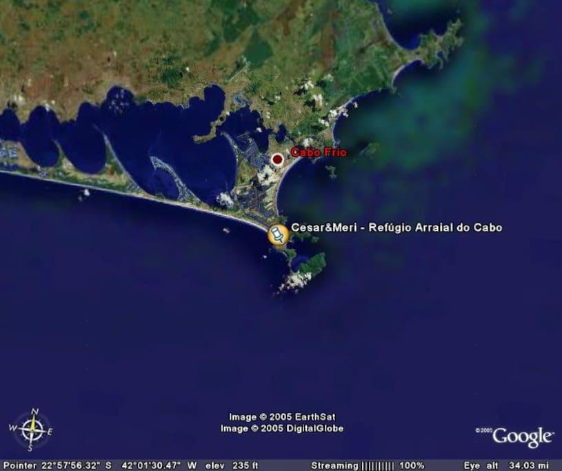 """Imagem satélite capturada no """"Google Map""""."""