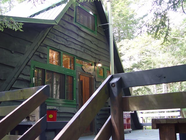 front of cabin with large deck and BBQ grill