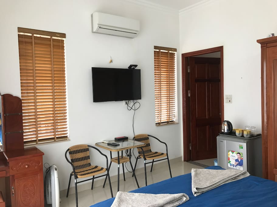 Room has cable TV and small fridge + tea and coffee facilities