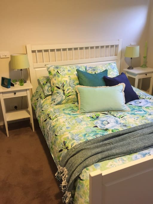 Our Family Suite #1 (aka Green Suite) with QS Hemnes bed with matching bedside tables. Beautiful Laura Ashley Francesca Mint Quilt Cover with matching pillows. Sheridan QS Sheet Set
