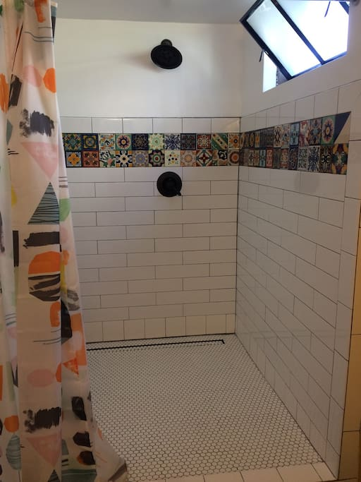 Brand new walk in shower with real hand-painted Mexican tile.