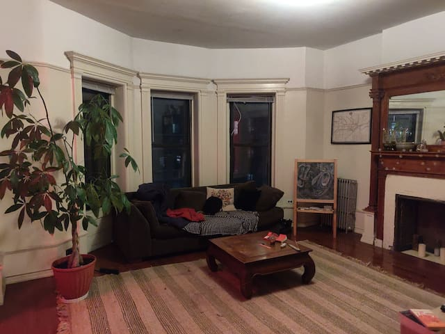 Large room in lovely apartment in Crown Heights.