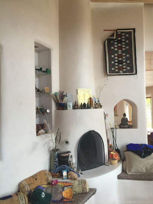 Kiva fireplace living room