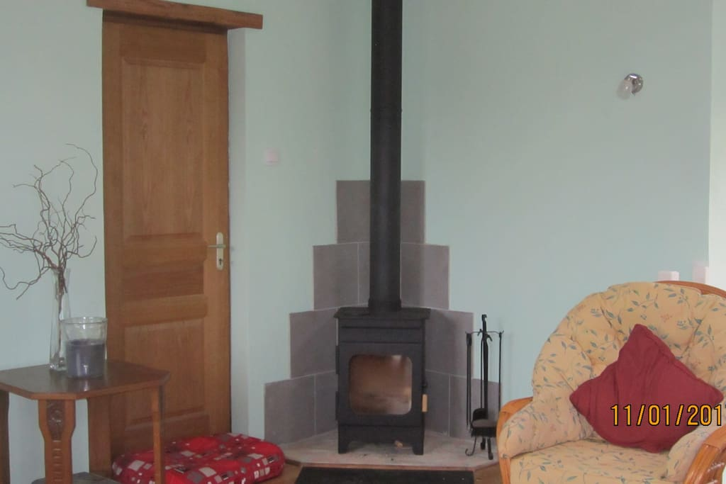 Log burner in living room for those cold winter evenings
