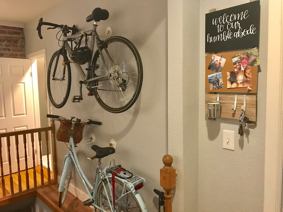 The Cozy Cap Hill Condo offers two bikes available for visitor use, and an air pump and bike locks for ease of use. Getting them down from the wall does require two people, though.