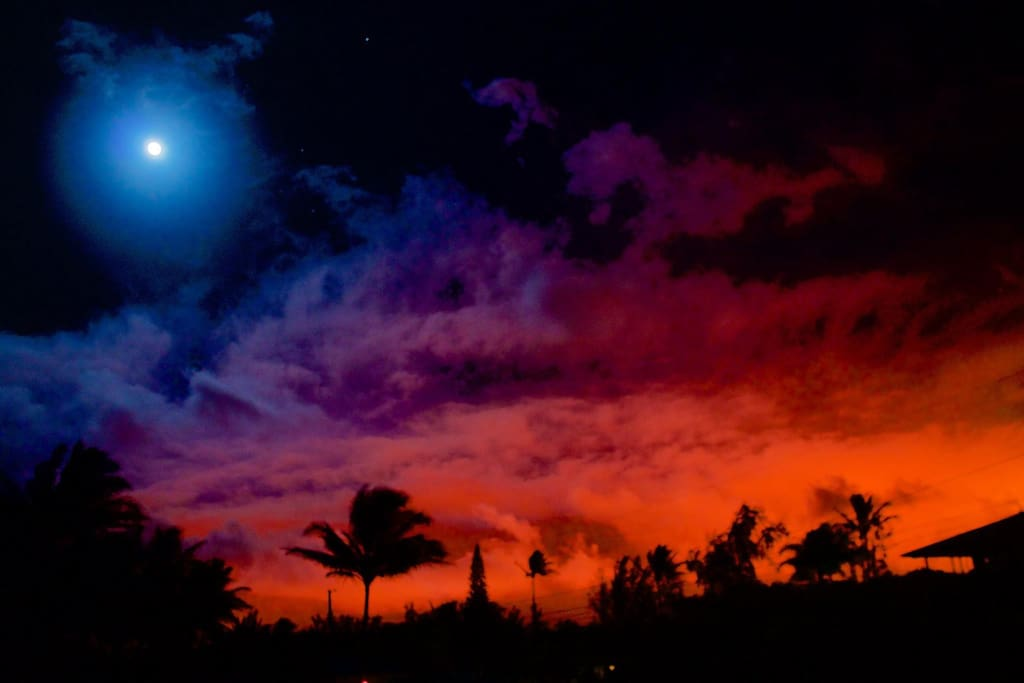 See a beautiful Red Night LAVA Glow from our home!