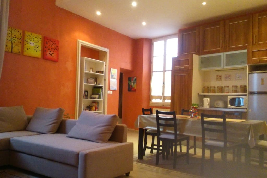 Grande pièce à vivre : salon, salle à manger, cuisine ouverte