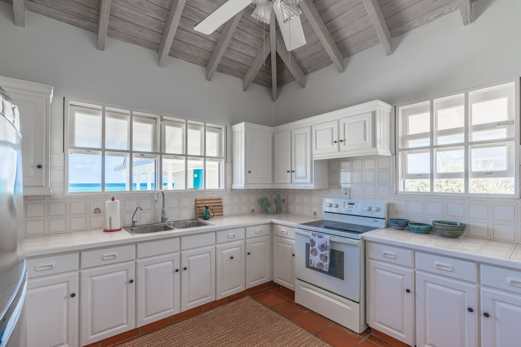 kitchen with ocean view