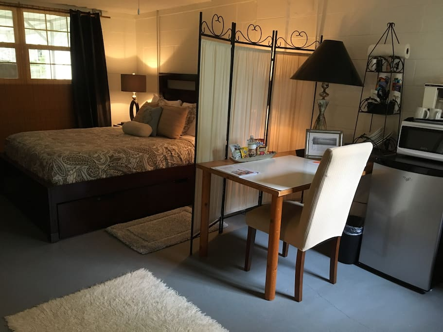 Large quiet studio with your OWN private entrance, eating/work space, and OWN private bathroom.