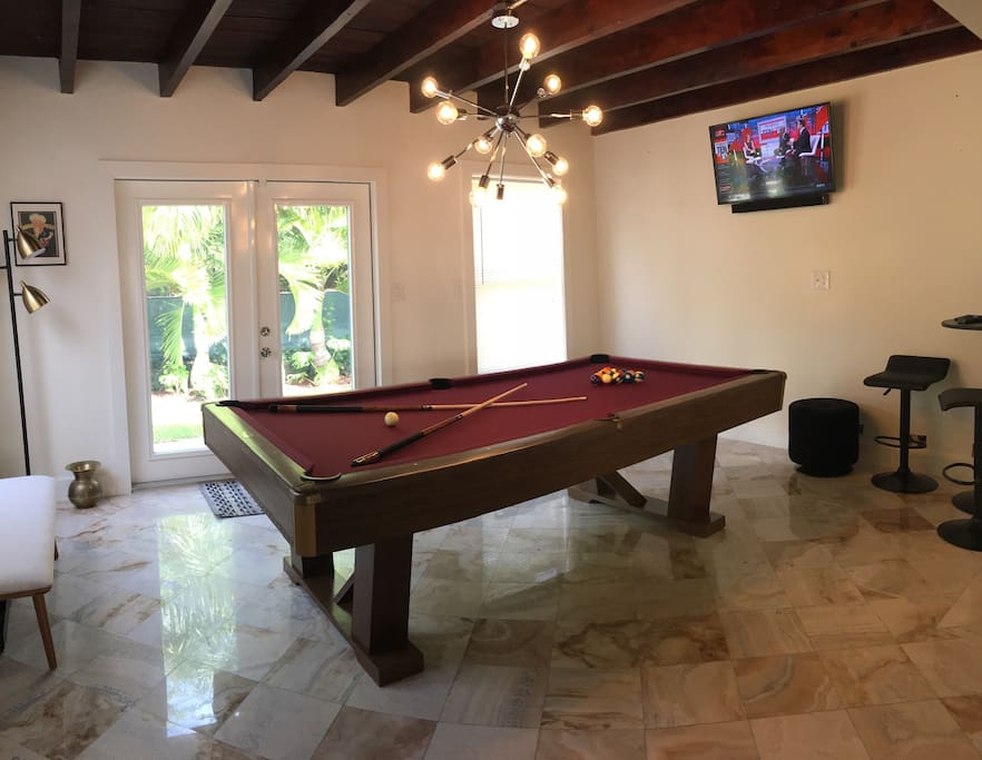 "8ft Brunswick pool table 40"" smart tv and Bluetooth sound bar."