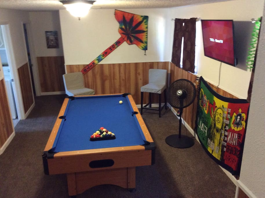 Pool table, bar area, craps, roulette, black jack, and poker
