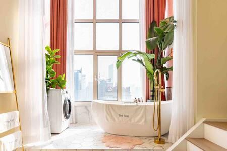 Room ①「The Nap」Loft 北站地铁口市中心青年大街 落地窗 浴缸 轻奢