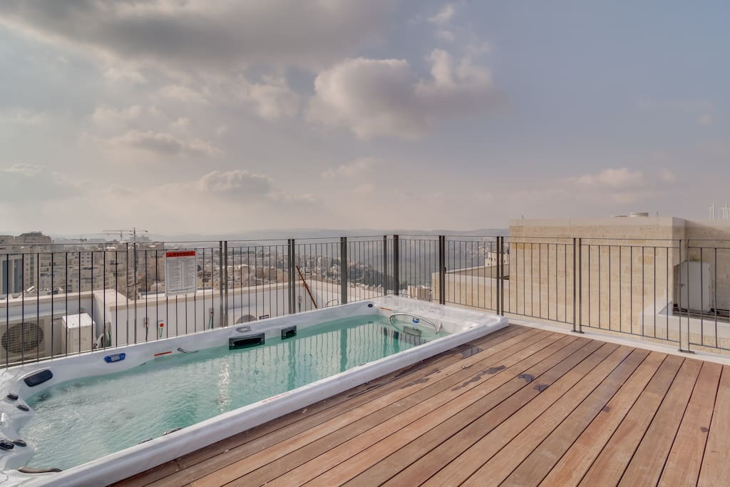 Your private pool with jacuzzi and swimming current