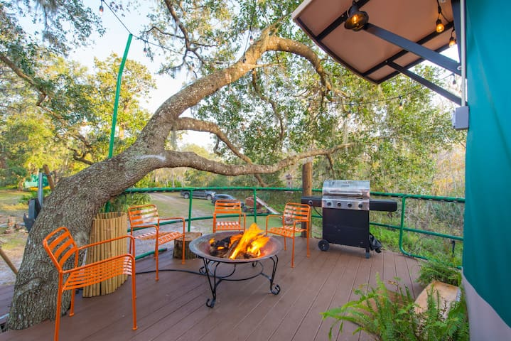 Yurt deck gas fireplace and grill