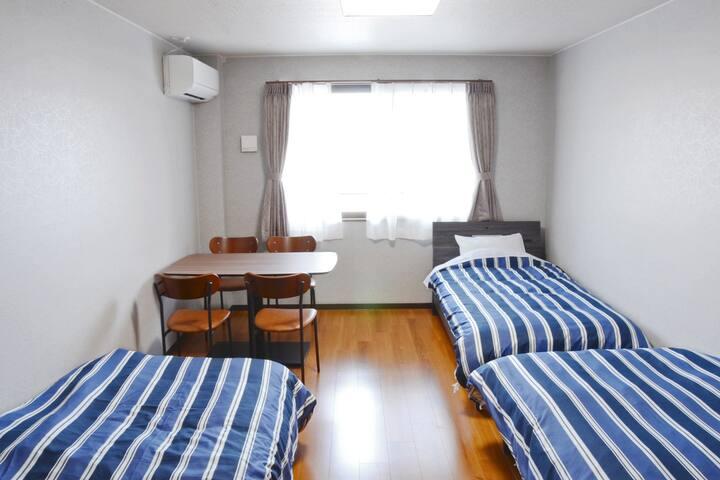 Beppu hostel U&T역세권!洋室小2~3인용객실 駅近!駐車場無料!