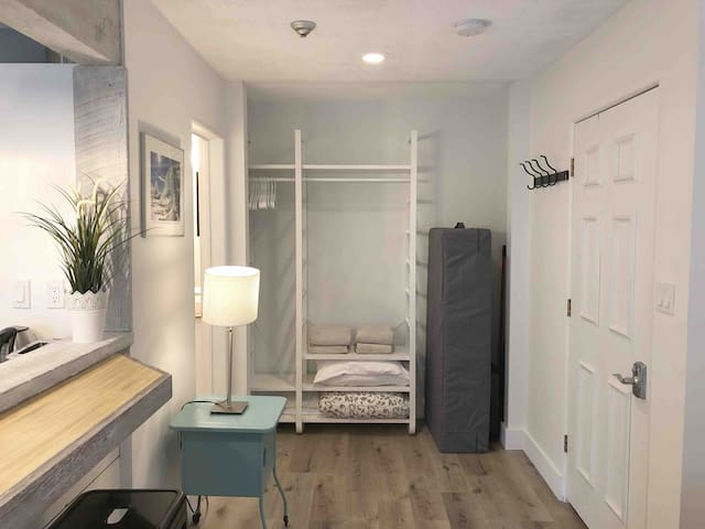 Open closet with the temper-pedic fold-away mattress for a second bed.