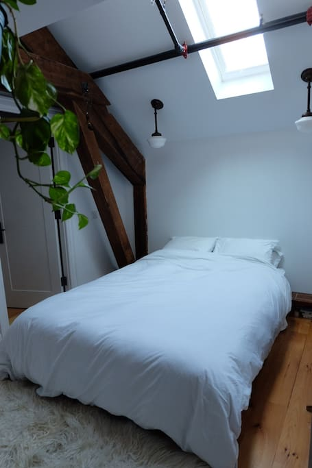 Peaceful bedroom with remote control skylight and queen bed.